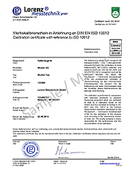 Sample Proprietary Calibration Certificate